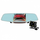 "Junsun 5"" Rearview Camera Car DVR w/ ADAS Dual Lens - Black + Blue"