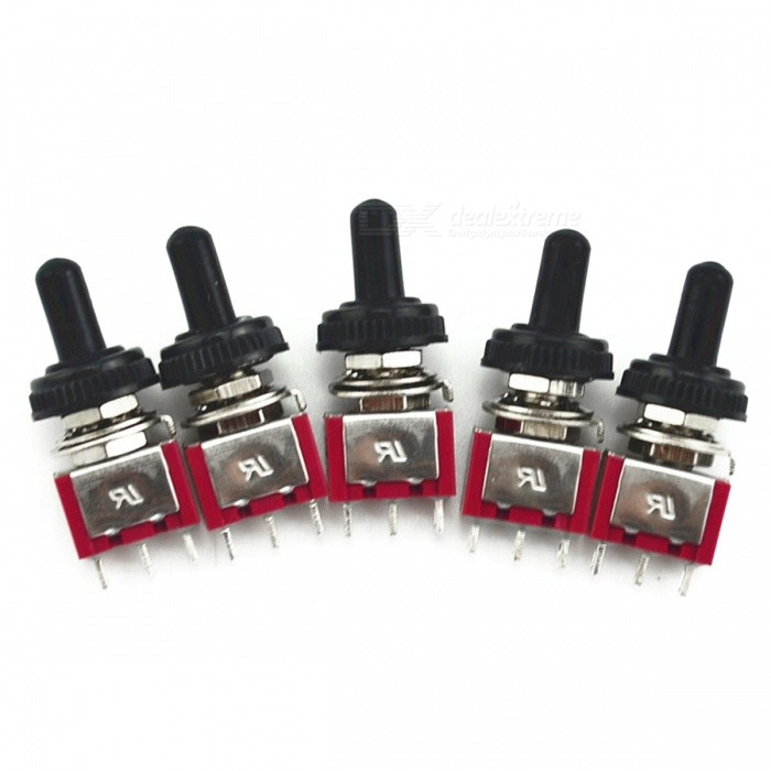 2A 250V/5A 120V Waterproof Switch Cap On-On Miniature Toggles (5Pcs)