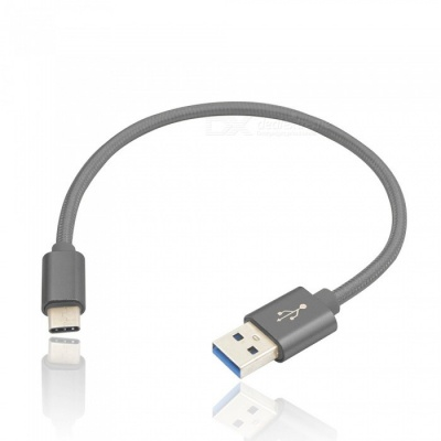 20cm Type-C Male to USB Male Data Charging Cable for HuaWei - Grey
