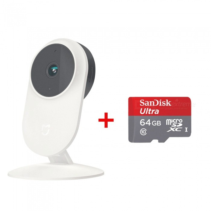 Xiaomi Mijia Smart IP WiFi Camera + 64GB Memory Card - White + RedIP Cameras<br>Form  ColorWhite + 64GB TF CardPower AdapterOthersModelSXJ01ZMMaterialABSQuantity1 DX.PCM.Model.AttributeModel.UnitPixels1080pNight Vision Distance10 DX.PCM.Model.AttributeModel.UnitSupported BrowserOthers,N/AOnline Visitor4Mobile Phone PlatformOthers,N/APacking List1 x Smart Camera 1 x User manual1 x Adapter1 x 64GB Memory card<br>