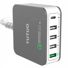 TUTUO 40W 5-Ports QC3.0 + Type-C Desktop Smart USB Charger (US Plugs)