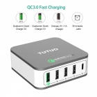 TUTUO 40W 5-Ports QC3.0 + Type-C Bords Smart USB-laddare (US Plugs)
