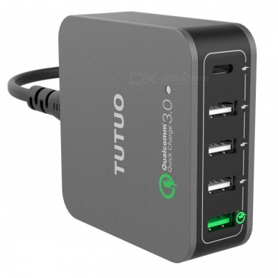 TUTUO 40W 5-Port QC3.0 + Type-C Desktop Smart USB Charger (EU Plug)