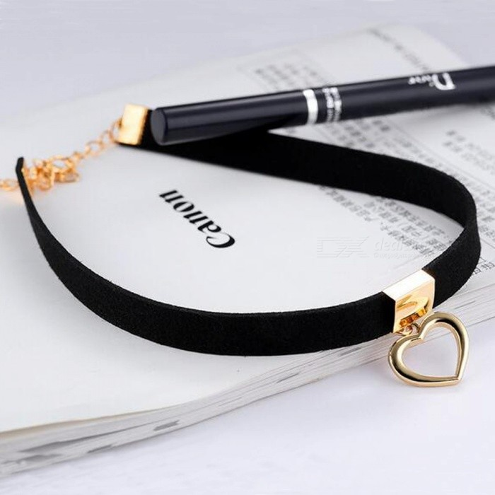 JEDX Trendy Wide Neck Strap Collar Heart Necklace
