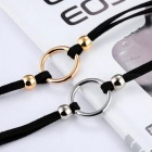 JEDX Trendy Wide Neck Strap Collar Ring Necklace - Black + Silver