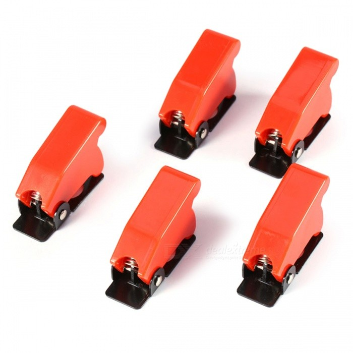 Plastic Safety Switch Flip Cap Guards for Toggle Switch (5Pcs) - Red