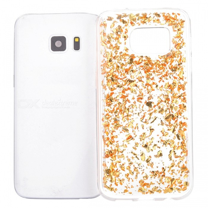 Gold Foil Silicone Phone Case for Samsung S7 Edge - Golden