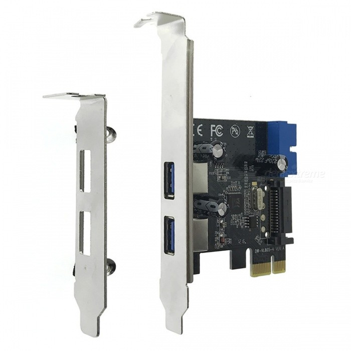Cwxuan High Speed PCI-E 2-Port USB 3.0 Extension Card  Adapter - Black