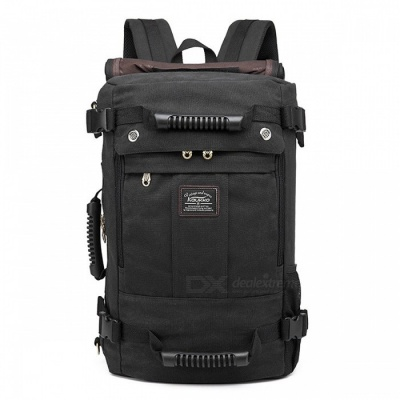 KAUKKO K1027 29.8L Multi-function Canvas Shoulder Backpack - Black