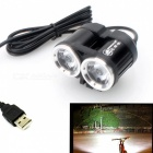 ZHISHUNJIA XML T6 2-LED 1600lm 4-Mode White Bike Light - Black (USB)