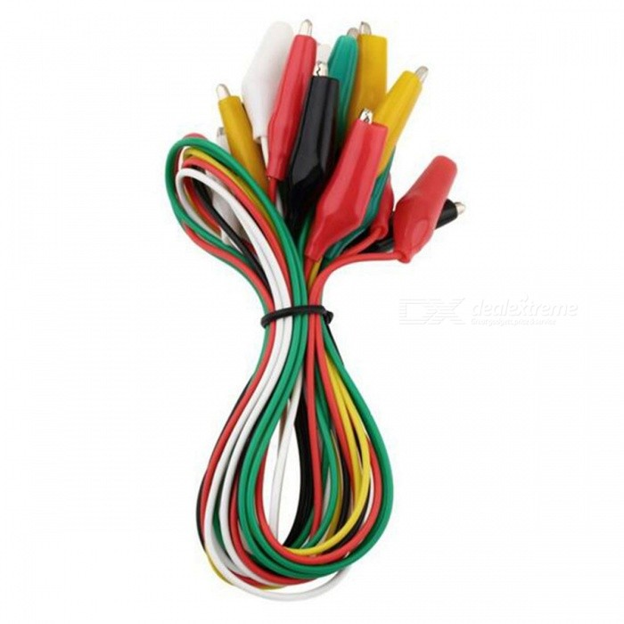 Electrical DIY Double-end Alligator Clips for Test (10Pcs)DIY Parts &amp; Components<br>Form  ColorBlack + Yellow + Multi-ColoredQuantity10 DX.PCM.Model.AttributeModel.UnitMaterialPlastic, copperCertificationWiresPacking List10 x Alligator Clips<br>