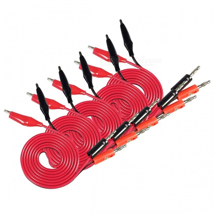 Banana Plug to Alligator Clip Test Lines - Red + Black (1m / 5PCS)DIY Parts &amp; Components<br>Form  ColorRed + blackQuantity1 DX.PCM.Model.AttributeModel.UnitMaterialPlastic + copperCertificationN/APacking List5 x Cables<br>