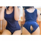 Japanese Zipper Open-Crotch Student Swimsuit - Navy Blue