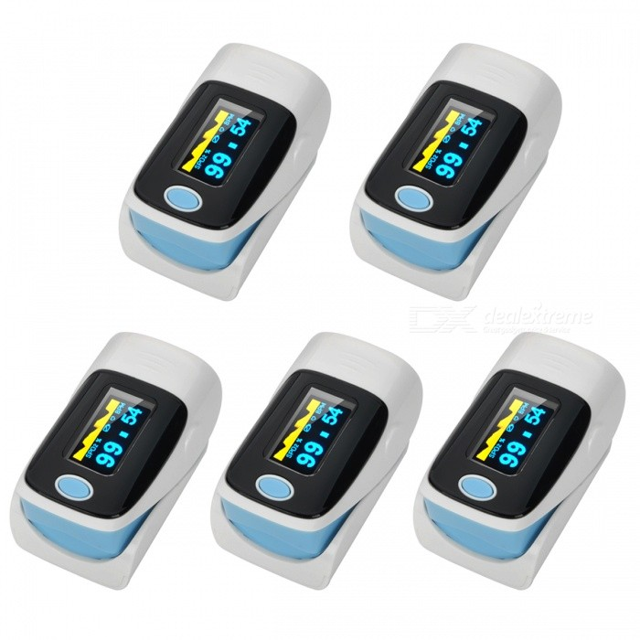 "1.1"" OLED SPO2 Fingertip Pulse Oximeter - White + Blue (5 PCS)"