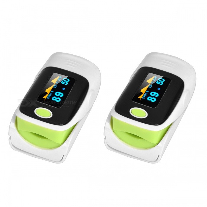 1.1 OLED SPO2 Fingertip Pulse Oximeter - White + Green (2 PCS)Heart Rate Monitor<br>Form  ColorWhite + Green + Multi-Colored (2 PCS)Shade Of ColorMulti-colorMaterialPVCQuantity2 DX.PCM.Model.AttributeModel.UnitDisplay1.1 inch OLEDTarget PositionFingerBattery Number2Power SupplyAAABattery included or notNoPower AdapterBatteryPacking List2 x Oximeters1 x Strap1 x English user manual<br>