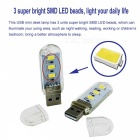 Mini USB 3-SMD LED Night Light Keychain Lampe de bureau blanc chaud (10 PCS)