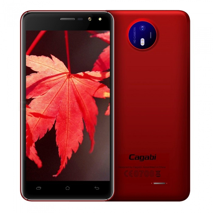 Cagabi one 5 HD Android 6.0 Smartphone w/ 1GB RAM+8GB ROM - RedAndroid Phones<br>Form  ColorRedRAM1GBROM8GBBrandOthers,CagabiModeloneQuantity1 setMaterialPlasticShade Of ColorRedPower AdapterOthers,N/AHousing Case MaterialPlasticTime of Release2017.04.10Network Type2G,3GBand DetailsGSM:850/900/1800/1900MHz  WCDMA:850/2100/1900MHzData TransferGPRS,HSDPAWLAN Others,WIFI 802.11b/gSIM Card Quantity2Network StandbyDual Network StandbyBluetooth VersionBluetooth V4.0Operating SystemAndroid 6.0CPU ProcessorMTK6580ACPU Core QuantityQuad-CoreGPUMali-400 MPLanguageEnglish, Spanish, Portuguese, Italian, German,  French, Russian, Arabic, Malay, Thai, Greek, Ukrainian, Croatian, Czech, Simplified Chinese, Traditional Chinese etc.Available Memory8GBMemory CardTF CardMax. Expansion Supported32GBSize Range5.0~5.4 inchesTouch Screen TypeIPSScreen Resolution1280*720Screen Size ( inches)5.0Screen Edge2.5D Curved EdgeCamera Pixel8.0MPFront Camera Pixels5 MPVideo Recording Resolution720PFlashYesAuto FocusyesTalk Time300 hoursStandby Time500 hoursBattery Capacity2200 mAhfeaturesWi-Fi,GPS,BluetoothSensorG-sensor,ProximityWaterproof LevelIPX1Dust-proof LevelNoI/O Interface3.5mm,SIM SlotSoftwarePlay Store, E-mail, Gmail, Calculator, File manager, Clock, Calendar, Gallery, Video Player, Music, Sound Recorder, FM Radio, etc.Format SupportedAAC,MP3,OGG,WAV  3GP,AVI,MP4Reference Websites== Will this mobile phone work with a certain mobile carrier of yours? ==CertificationCE, RoHS, MSDSPacking List1 x Phone1 x Battery1 x Charger1 x Data Cable (5 Pin)1 x User Manual1 x Warranty card1 x Box1 x Screen protector<br>