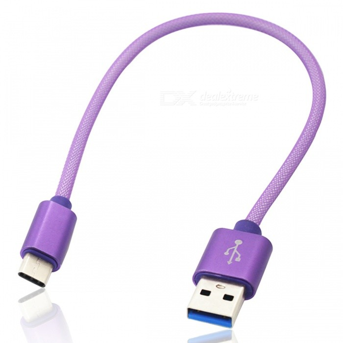 Mini Smile 2.1A Type-C to USB 2.0 Charging Data Cable (26.5cm) -Purple