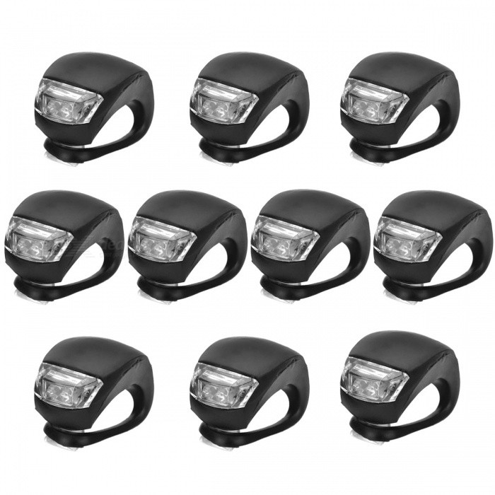 2-LED 3-Mode White + Red Light Fog Bicycle Lights - Black (10 PCS)Bike Light<br>Form  ColorBlack (10 PCS)Quantity10 DX.PCM.Model.AttributeModel.UnitMaterialSiliconeEmitter BINLEDColor BINRed,WhiteBattery2 x  CR2032 batteriesBattery included or notYesNumber of Modes3ApplicationHandle BarPacking List10 x Bicycle Lights<br>