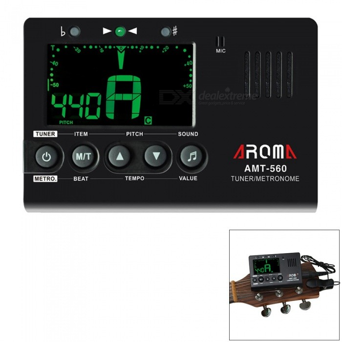Aroma AMT-560 Electric Tuner &amp; Metronome Built-in Mic with 6.3mm CableInstruments Parts<br>Form  ColorBlackModelAMT-560MaterialRubberQuantity1 DX.PCM.Model.AttributeModel.UnitShade Of ColorBlackCompatible ModelsChromatic, guitar, bass, violin, ukuleleOther FeaturesNoPacking List1 x Electronic Tuner1 x Pickup Cable<br>