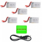 Supper Fly X5 Charger + 3.7V 1000mAh 20C Batteries Set (5Pcs) - Silver