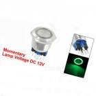 12V Green LED DPST 22mm Momentary Stainless Steel Push Button Switch