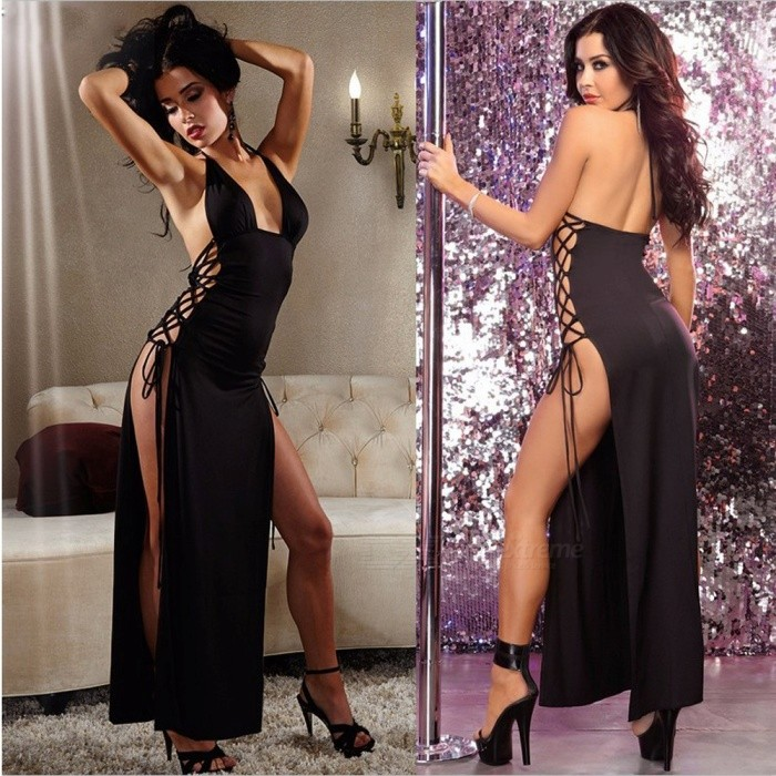 Sexy Halter Hanging Neck Side Straps Long Skirt Pajamas Sexy Underwear