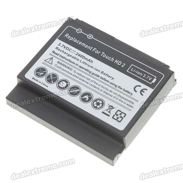 3.7V 2400mAh High Capacity Battery Pack with Back Cover for HTC HD2 3 6v 2400mah rechargeable battery pack for psp 3000 2000