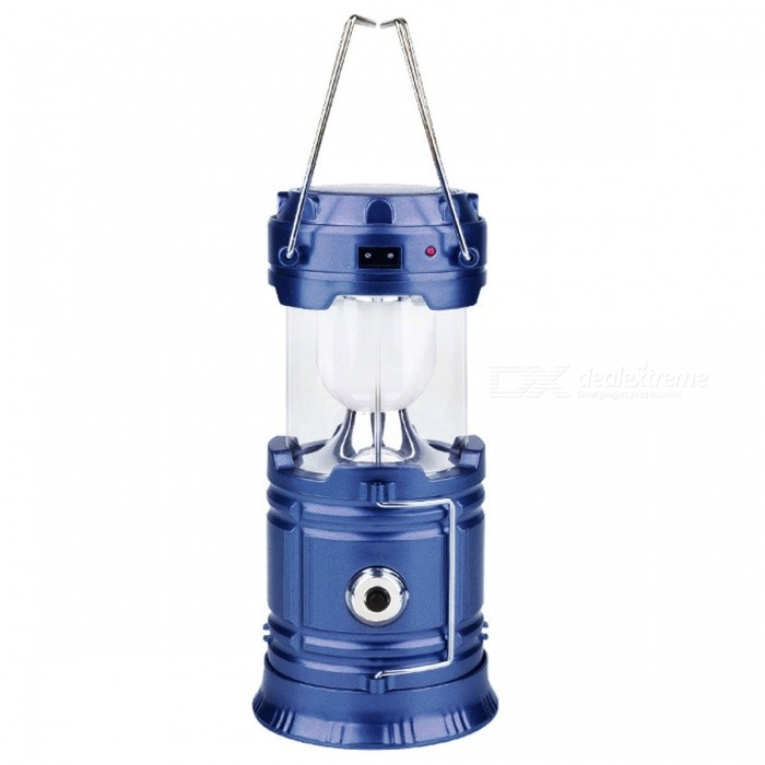 Multifunctional Portable Solar Powered Retractable Hanging Lamp - Blue