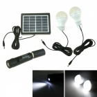 IN-Color 3W Solar Power Charger / Camping Tent Light - White + Black