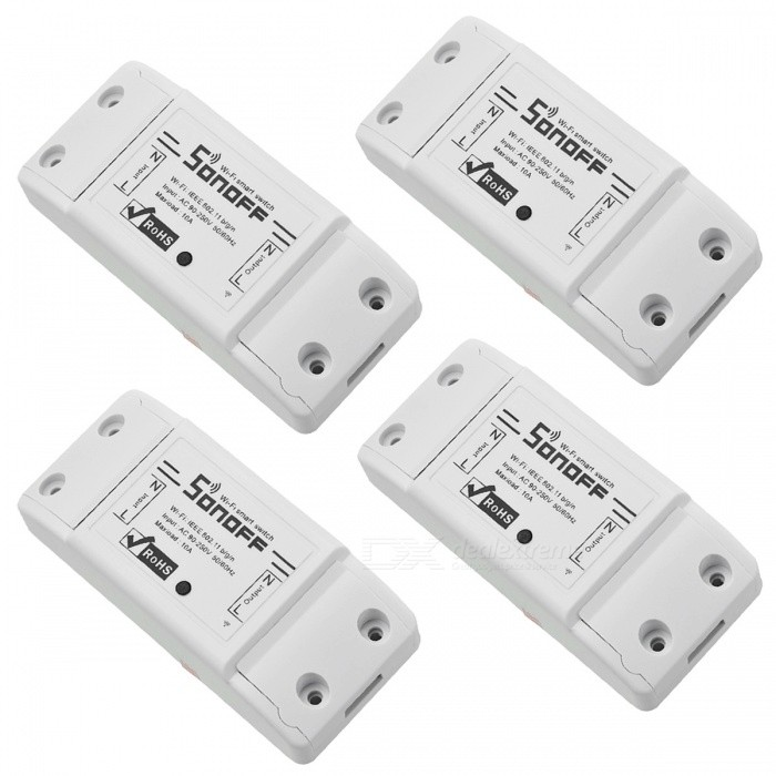 Sonoff Smart Wifi Switch DIY Remote Wireless Smart Switch Domotica Wifi Light Switch - White (4 PCS)Home Smart Devices<br>Form  ColorWhite (4 PCS)ModelSonoff BasicQuantity4 pieceMaterialPCB + ABSPowerRate VoltageAC 90-250VOther FeaturesControl mode: Mobile APP (search eWeLink in App store); Transmission mode: Wi-Fi communication; Controlled lines: 1; Control distance: infinity;<br>Power: 7A/1500W; Platform: Android, iOS; Working temperature: 0-55 degreePacking List4 x Remote switch modules<br>