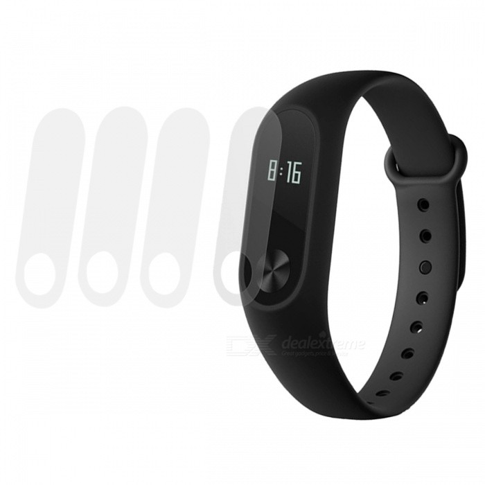 0.1mm HD Protective Films for Xiaomi Miband 2 - Transparent (4 PCS)Wearable Device Accessories<br>Form  ColorTransparent (4 PCS)Quantity4 DX.PCM.Model.AttributeModel.UnitMaterialABSPacking List4 x Protective films<br>