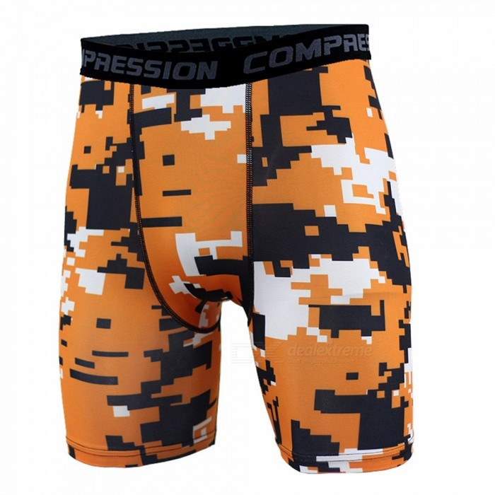 Outdoor Men's Sports Fitness Camouflage Shorts - Orange (M)