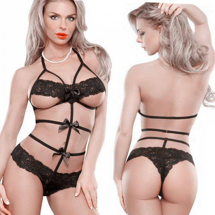 Three-point Dew Look Lace Temptation Siamese Sexy Underwear - Black