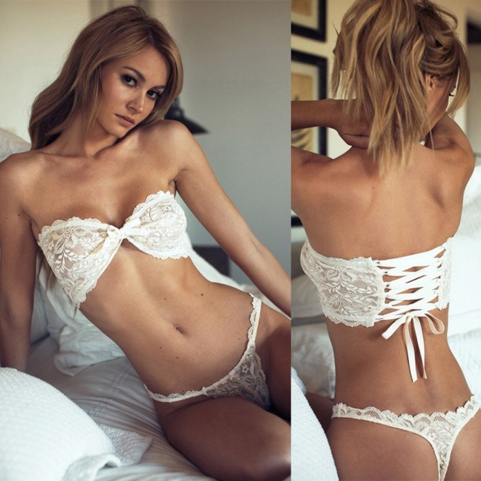 Sexy Three-point Perspective Lace Wrapped Chest Strap Fun Suit