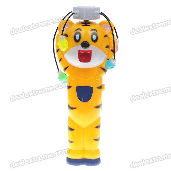Cute Tiger Shaped Windmill with Four-Color Light + Music Effects (3*AA)