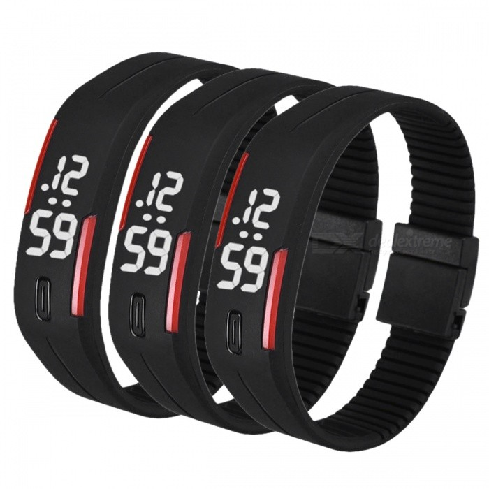 Unisex Lodestone PU Band LED Bracelet Wrist Watch - Black + Red (3PCS)LED Watches<br>Form  ColorBlack + Red (3 PCS)Quantity3 DX.PCM.Model.AttributeModel.UnitShade Of ColorBlackCasing MaterialPUWristband MaterialPUSuitable forOthers,EveryoneGenderUnisexStyleWrist WatchTypeCasual watchesDisplayDigitalBacklightWhiteMovementDigitalDisplay Format12 hour formatWater ResistantWater Resistant 3 ATM or 30 m. Suitable for everyday use. Splash/rain resistant. Not suitable for showering, bathing, swimming, snorkelling, water related work and fishing.Wristband Length22 DX.PCM.Model.AttributeModel.UnitDial Diameter2.5 DX.PCM.Model.AttributeModel.UnitDial Thickness0.8 DX.PCM.Model.AttributeModel.UnitBand Width2.5 DX.PCM.Model.AttributeModel.UnitBatteryLR1130*2Packing List3 x Watches<br>