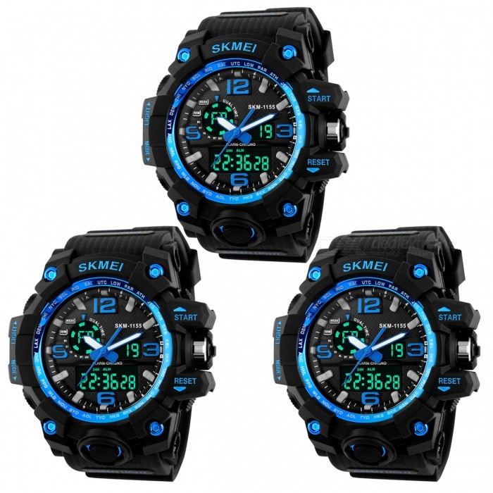 SKMEI 1155 50M Waterproof Multifunction Sport Watch - Blue (3 PCS)Sport Watches<br>Form  ColorBlue (3 PCS)Model1155Quantity3 piecesShade Of ColorBlueCasing MaterialPlastic &amp; MetalWristband MaterialPlastic &amp; MetalSuitable forAdultsGenderMenStyleWrist WatchTypeSports watchesDisplayAnalog + DigitalBacklightYESMovementOthers,Double Japan MovementDisplay Format12/24 hour time formatWater ResistantWater Resistant 5 ATM or 50 m. Suitable for swimming, white water rafting, non-snorkeling water related work, and fishing.Dial Diameter5.2 cmDial Thickness1.7 cmWristband Length26 cmBand Width2.5 cmBatteryCR2025*1, SR626SW*1Packing List3 x Watches<br>