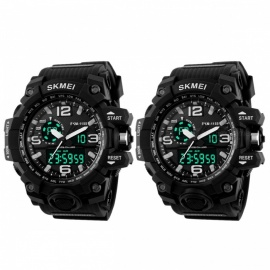 SKMEI 1155 50M Waterproof Multifunction Sport Watch - Black (2 PCS)