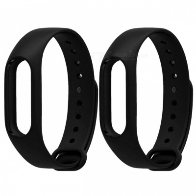 Replacement TPU Wrist Bands for Xiaomi MI Band 2 - Black (2 PCS)