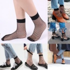 Soft Ultra-thin Breathable Hollow Silk Socks for Spring and Summer - Black (Medium Mesh)