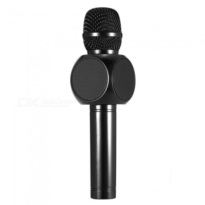 E103 Bluetooth Karaoke Player Wireless Condenser Microphone - BlackMicrophones<br>Form  ColorBlackModelE103Quantity1 DX.PCM.Model.AttributeModel.UnitShade Of ColorBlackMaterialAluminum + ABSInterface3.5mmPowered ByBuilt-in BatteryMicrophone Frequency Response100Hz~10kHzSensitivitySPL: &gt; 115dB 1KHz THDImpedanceN/A DX.PCM.Model.AttributeModel.UnitPacking List1 x Karaoke Player1 x Charging Cable1 x Audio Cable1 x User Manual<br>