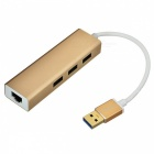 BSTUO USB 3.0 to RJ45 10/100Mbps Ethernet USB 3.0 HUB Adapter - Golden