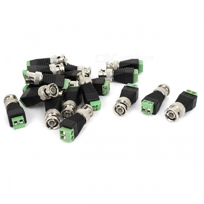 20Pcs Terminal Coax Cat5 Cat6 to BNC Male Video Balun Connectors