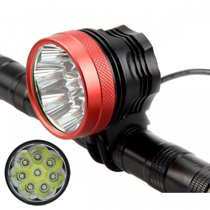 Meshion XML-T6 8-LED 3-Mode 9000lm Cold White Bike Light HeadlampBike Lights<br>Form  ColorBlack + RedModelBL0801Quantity1 DX.PCM.Model.AttributeModel.UnitMaterialAluminum alloyEmitter BrandCreeLED TypeXM-LEmitter BINT6Number of Emitters8Color BINCold WhiteWorking Voltage   8.4 DX.PCM.Model.AttributeModel.UnitPower Supply4 x 18650 (Included)Current9000 DX.PCM.Model.AttributeModel.UnitActual Lumens9000~10000 DX.PCM.Model.AttributeModel.UnitRuntime3~4 DX.PCM.Model.AttributeModel.UnitNumber of Modes3Mode ArrangementHi,Mid,Slow StrobeMode MemoryNoSwitch TypeOthers,Clicky switchLensGlassReflectorAluminum SmoothFlashlight MountingHandlebar and HelmetSwitch LocationTailcapBeam Range200~300 DX.PCM.Model.AttributeModel.UnitBike Lamp Interface Size2.1mmBattery Pack Interface Size5.5mmCertificationCE, RoHSPacking List1 x Bike light (70cm)2 x Rubber rings1 x 8.4V 4 * 18650 batteries pack (56cm-cable)1 x EU plug charger (100~240V / 90cm-cable)1 x Headband (20cm)<br>