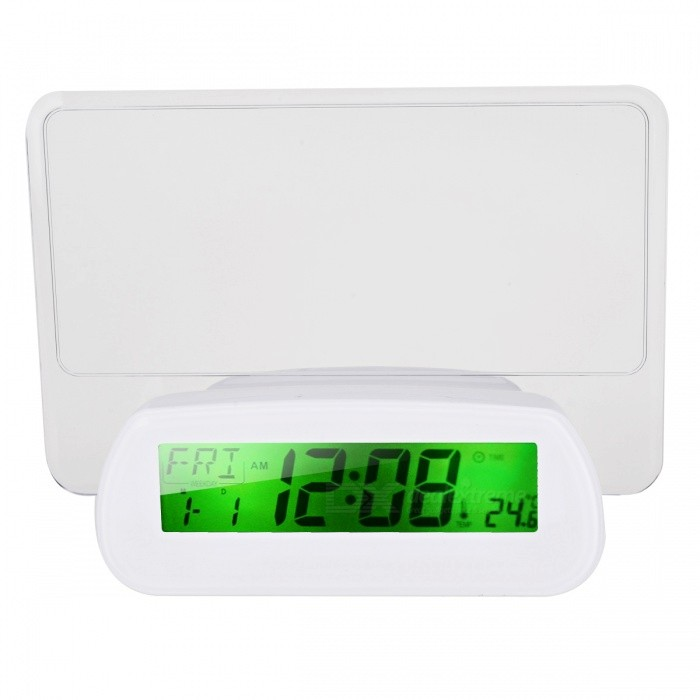 BSTUO Clapping Control Talking Message Board Clock w / Backlight-blanc