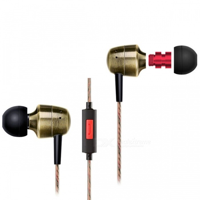 KZ GR HiFi Stereo Metal In-ear Wired Earphone - Golden (With Mic)