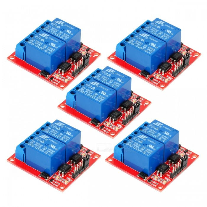 2-Channel 12V High Level Trigger Relay Modules for Arduino (5 PCS)