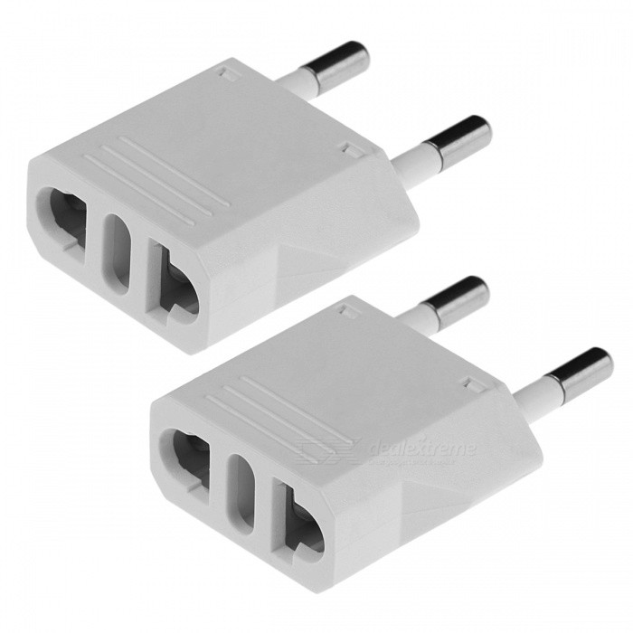 US / AU / Italy Plug Socket to 2-Round-Pin Plug AC Power Adapter(2PCS)Plugs &amp; Sockets<br>Form  ColorWhite (2 PCS)Quantity2 piecesMaterialABSFireproof MaterialNoTarget Country &amp; RegionMainly in EU but also in US, Africa, America and other countries and places where this adapter plug is needed.Rate Voltage125-250VRated Current6 ARated Power1500 WCompatible Plug2-Flat-Pin Plug,US Plugs,EU Plug (2-Round-Pin Plug),AU Plug,Others,Italy PlugGroundingNoOutlet1 setWith Switch ControlNoSurge Protection FunctionNoLightning Protection FunctionNoWith FuseNoPower AdapterEU PlugPacking List2 x Power Adapters<br>