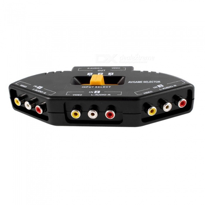 3-Way Audio Video AV RCA Switch Selector Splitter - Black + MulticolorAV Adapters And Converters<br>Form  ColorBlack + MulticolorMaterialPlasticQuantity1 DX.PCM.Model.AttributeModel.UnitShade Of ColorBlackCable Length100 DX.PCM.Model.AttributeModel.UnitPower SupplyDC12V/1ACertification228Packing List1 x Video switcher 1 x 3 Way RCA Cable<br>